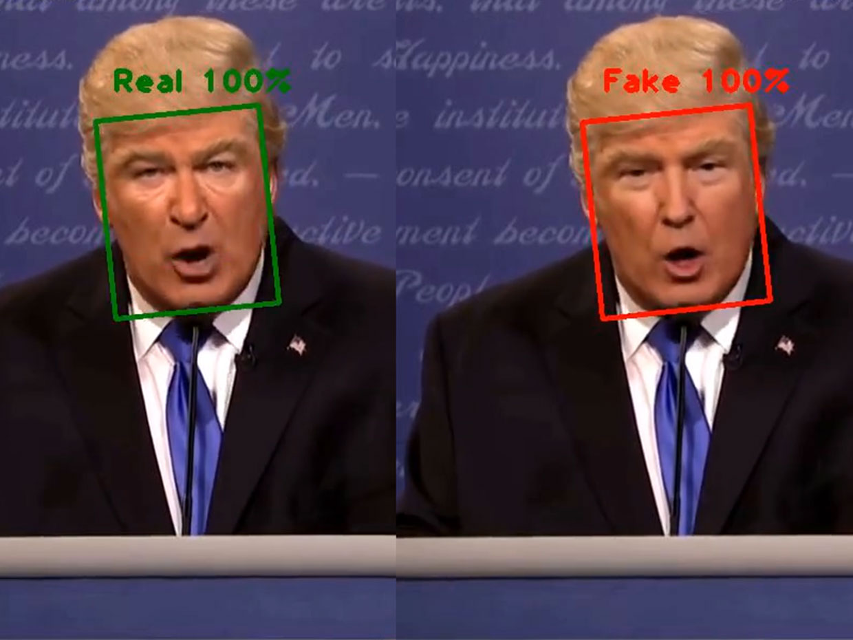 Comparison of real and fake face-swapping images